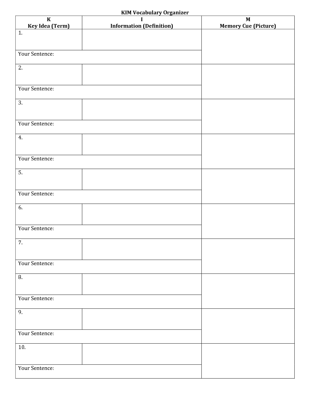 Kim Vocabulary Template Pictures To Pin