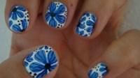 11 Blue Flower Nail Designs Images - Blue Flower Nail Art ...