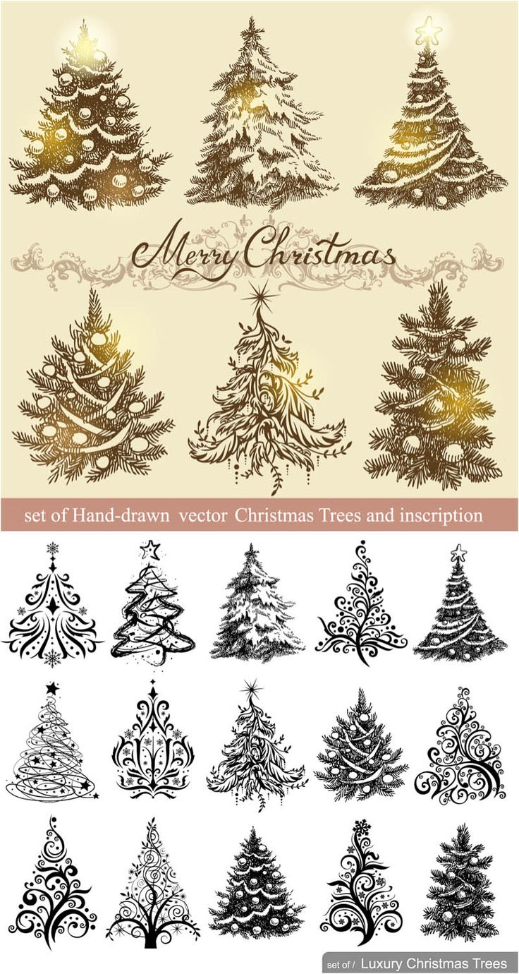 10 Free Vintage Christmas Vector Designs Images Merry