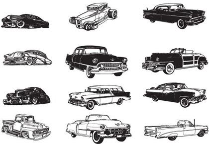 13 classic cars vector
