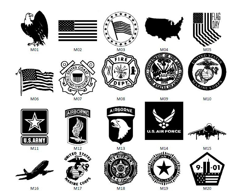 Military Emblems Vector Art Black White