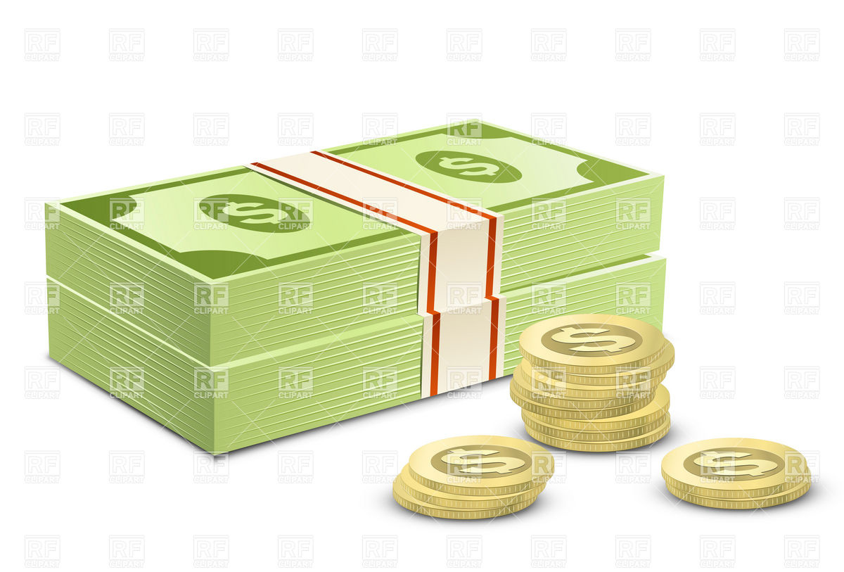 hight resolution of dollars and coins clip art