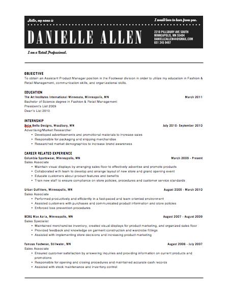 resume headers samples