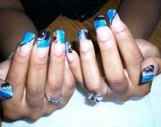 blue and black nail design