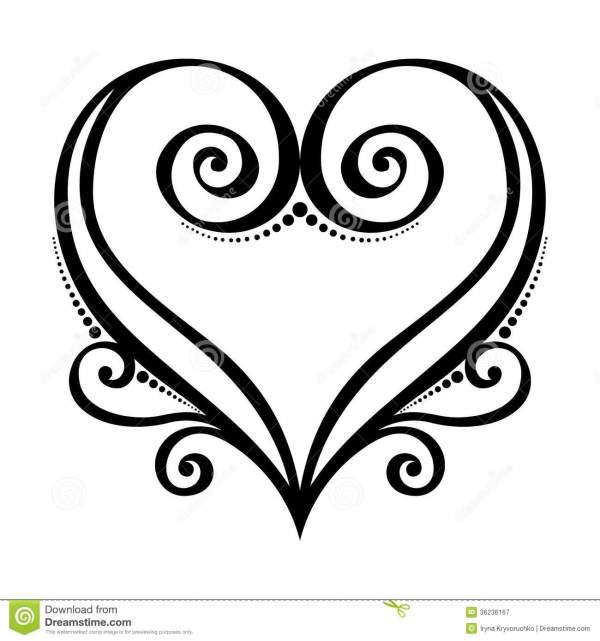 15 Vector Line Art Heart Images Black and White Heart