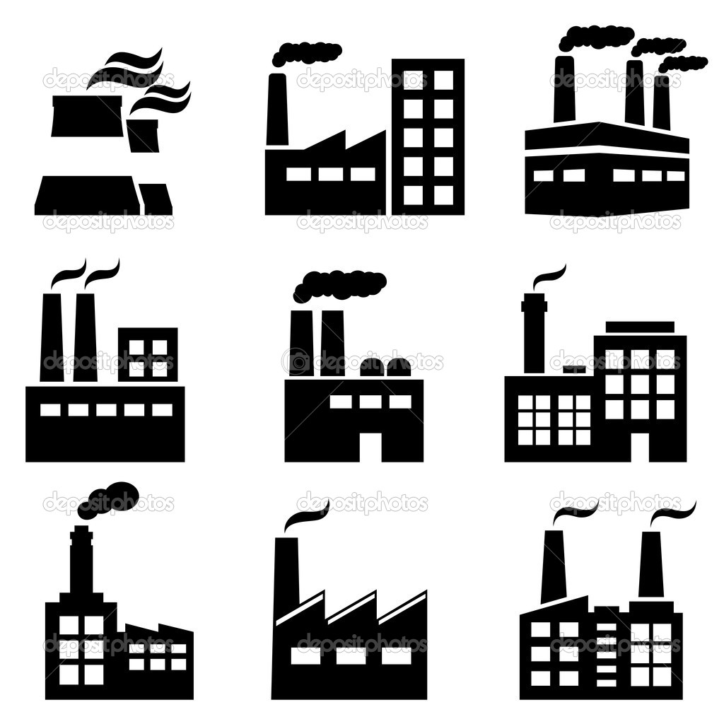 7 Factory Building Vector Icon Images