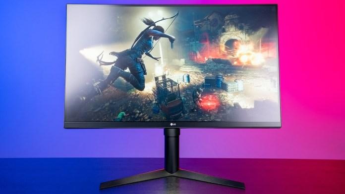 LG gaming monitor facing forward with a screenshot of Tomb Raider on screen