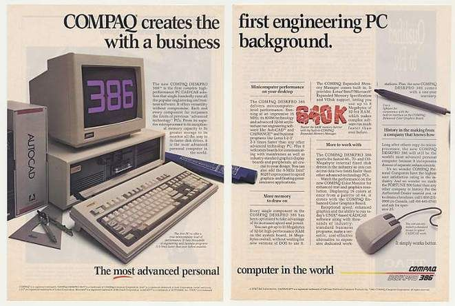 Compaq 386 beats IBM to market seen in this vintage computer advertisement