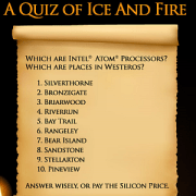 CPU Name or a Place in Westeros? Take the Quiz of Ice and Fire!