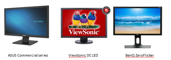 LED monitors with flicker free features