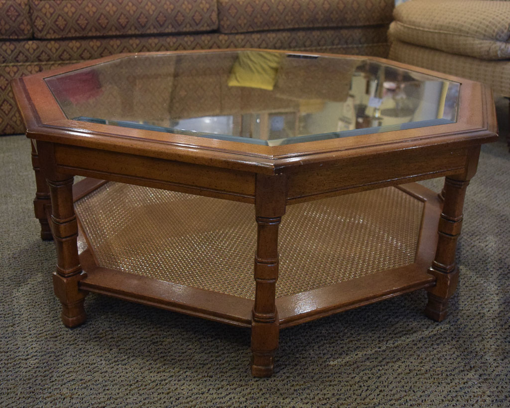 octagon glass top coffee table