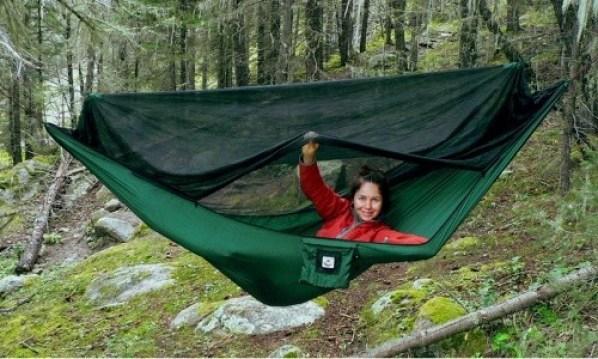 woman in tent hammock