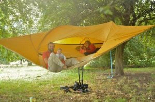 Family in Tent Hammock