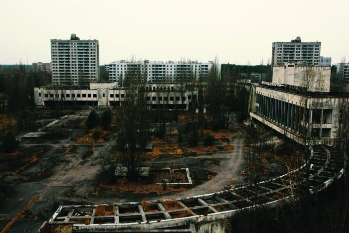 View of Lenin Square in the ghost city of Pripyat.