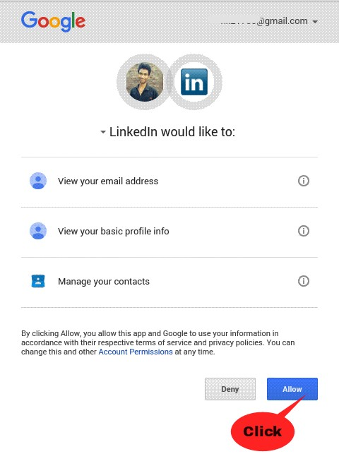 click on allow - linkedin