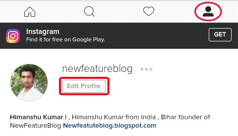 click on edit profile - nmewfeatureblog instagram