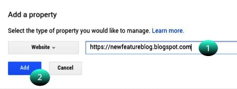 apne blog ya site ka URL daale aur add button par click kare