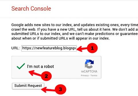 Blog ka URL daalkar submit kare Google me