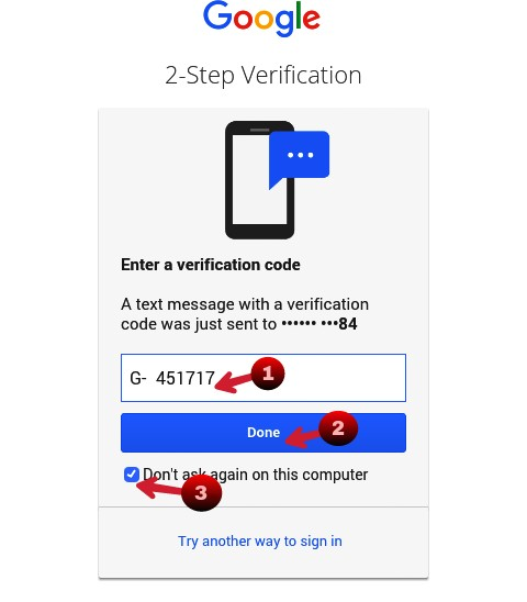 enter otp for 2 step verification and click on done