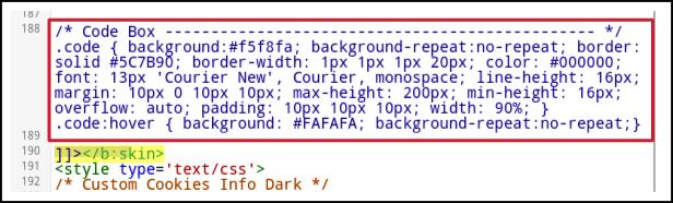Paste CSS code