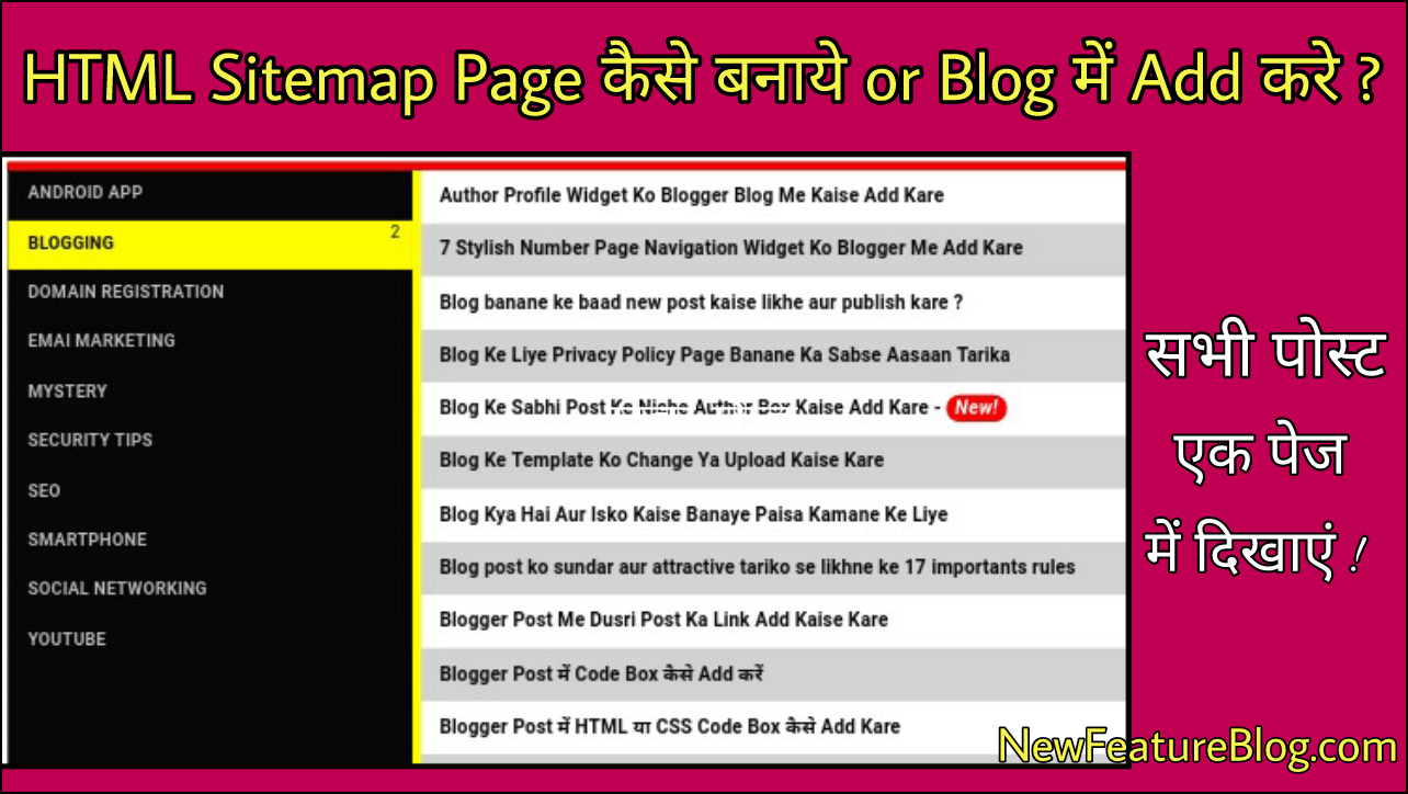 html sitemap page क स बन य or blog म add कर