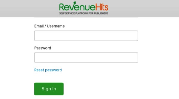 sign in revenuehits by entering email password