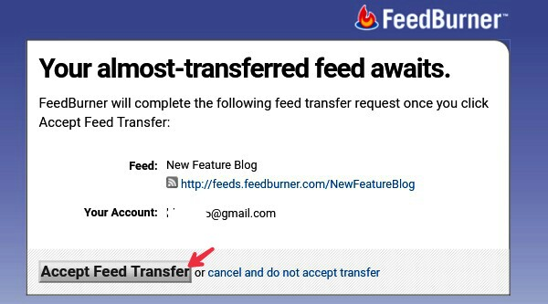 click on accept transfer feed