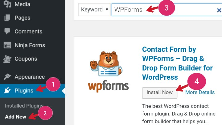 Contact form WPforms install and activate