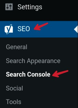 click on seo and search console