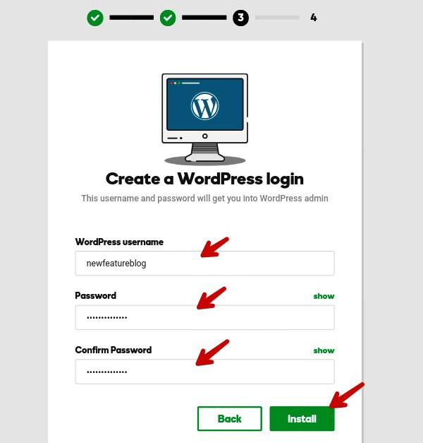 create wordpress usrenmame password