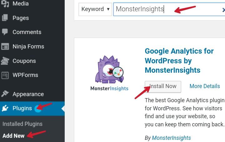 install googel analytics monsterInsights wp plugin