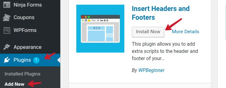 install insert headers and footers