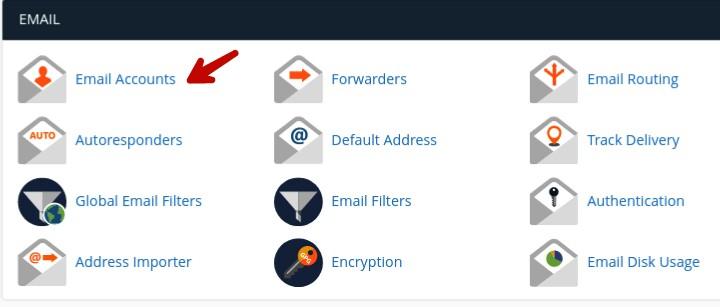 click on email accounts in hosting cpanel