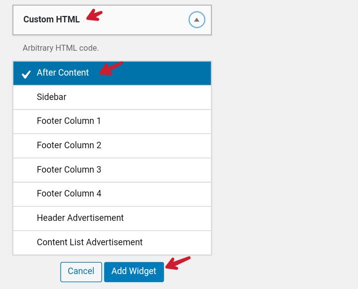 custom html widget ko add after content widget me add kare