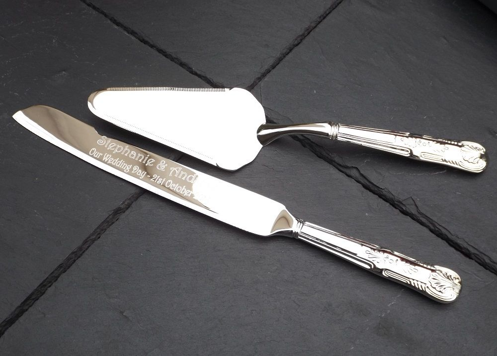 Silver Plated Cake Knife And Server Set Personalised