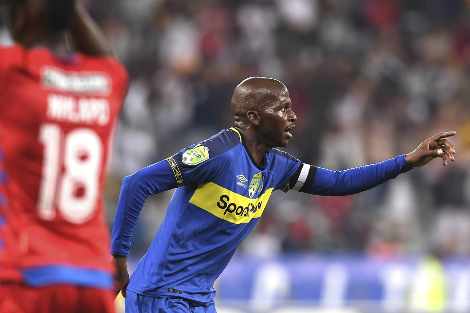 26 January 2019: Cape Town City's Thamsanqa Mkhize celebrates after scoring a goal during the Nedbank Cup match against SuperSport United at Cape Town Stadium. (Photograph by Ashley Vlotman/Gallo Images)