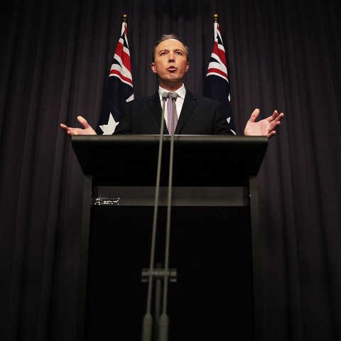 3 May 2016: Then Australian Immigration Minister Peter Dutton speaks at Parliament House in Canberra, Australia, after Hodan Yasin, a Somali refugee set herself on fire while being detained in Nauru. (Photograph by Stefan Postles/Getty Images)