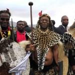 26 July 2014: (Left to right) Prince Mangosuthu Buthelezi, King Goodwill Zwelethini and former president Jacob Zuma during Zwelethini's wedding at Ondini Sports Complex in Ulundi. (Photograph by Gallo Images/ Sowetan/ Thulani Mbele)