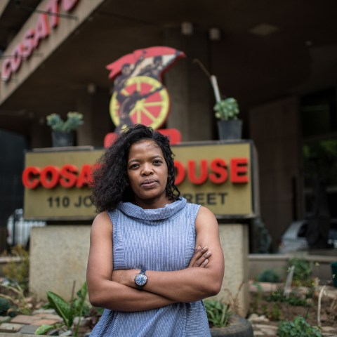 12 October 2018: Newly elected president of the Congress of South African Trade Unions Zingiswa Losi outside Cosatu House in Braamfontein, Johannesburg.