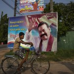 16 November 2018: A giant poster of acting Prime Minister Mahinda Rajapaksa in his hometown of Tangalle, Sri Lanka. (Photograph by Paula Bronstein/Getty Images)