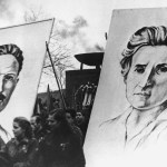 19 January 1953: A communist march in East Berlin to commemorate the deaths of Karl Liebknecht and Rosa Luxemburg, co-founders of Germany's Spartacist League. (Photograph by Keystone/Hulton Archive/Getty Images)
