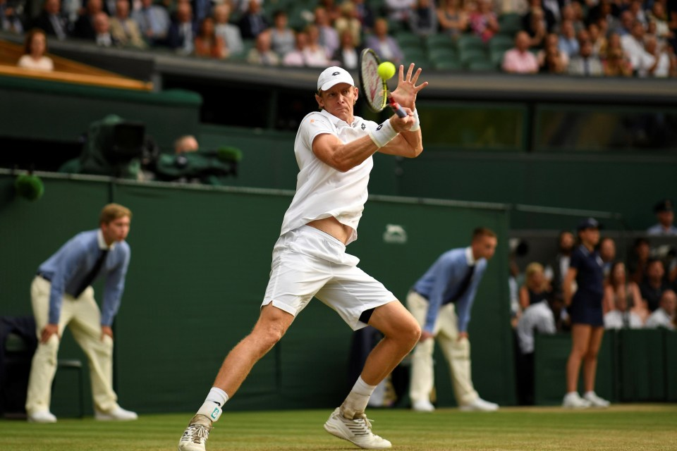 13 July 2018 South Africa's Kevin Anderson in action during his Wimbledon semi-final match against John Isner of the United States. REUTERS/Tony O'Brien