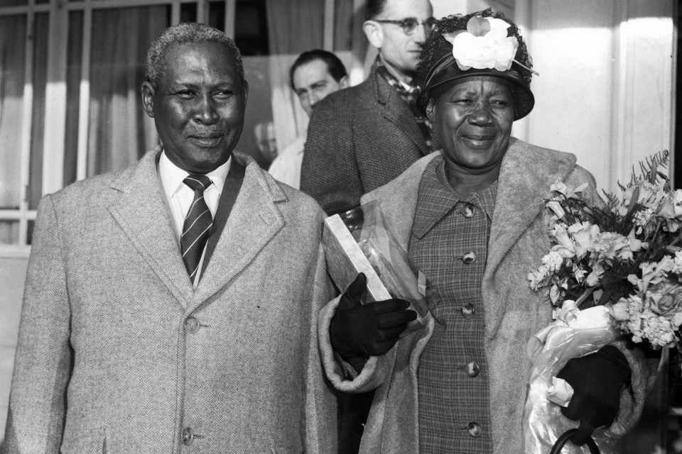 7 December 1961: Albert Luthuli and his wife, Nokukhanya, leaving the Dorchester Hotel in London, UK. They were en route to Oslo, Norway, where Luthuli accepted the Nobel Peace Prize. (Photograph by Keystone/Hulton Archive/Getty Images)