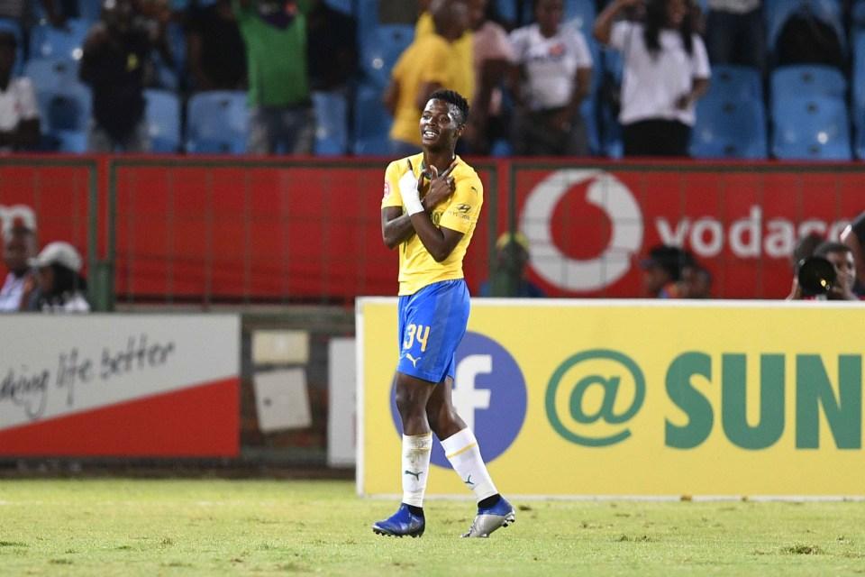 27 February 2019: Phakamani Mahlambi of Mamelodi Sundowns celebrates his goal during the Absa Premiership match against Cape Town City at Loftus Versfeld in Tshwane. (Photograph by Lefty Shivambu/Gallo Images)