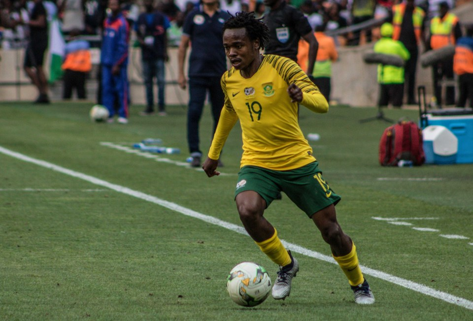 17 November 2018: Bafana Bafana's Percy Tau on the attack during their 1-1 draw with Nigeria at FNB Stadium in Johannesburg. Photograph by Lebo Edgar Mashao