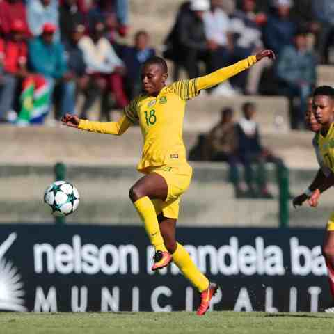 12 September 2018: Nompumelelo Nyandeni of South Africa during the COSAFA Women's Championship match between South Africa and Madagascar at Wolfson Stadium in Port Elizabeth. (Photo by Richard Huggard/Gallo Images)