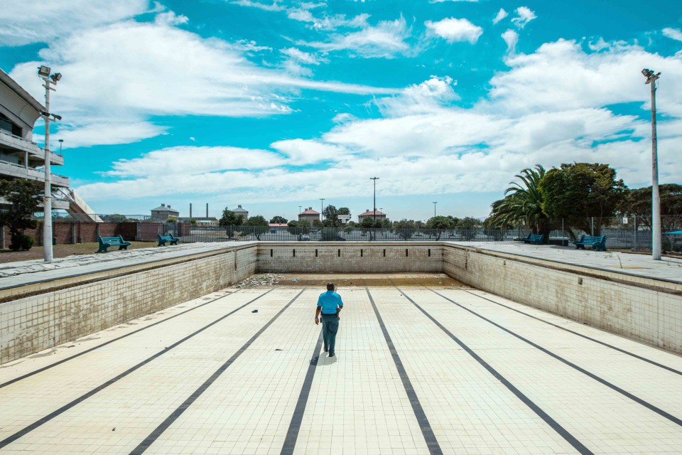 6 March 2018: Athlone public swimming pool in Cape Town, emptied because of water restrictions. The plant operator, who has monitored the chemicals in the pool since 1997, said he had never seen the pool empty. (Photograph by Morgana Wingard/Getty Images)