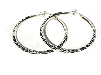 Sterling Silver Large Diamond Cut Hoop Earring