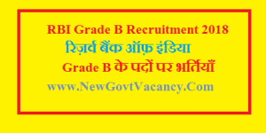 RBI Grade B 2018 Recruitment Vacancy Notification