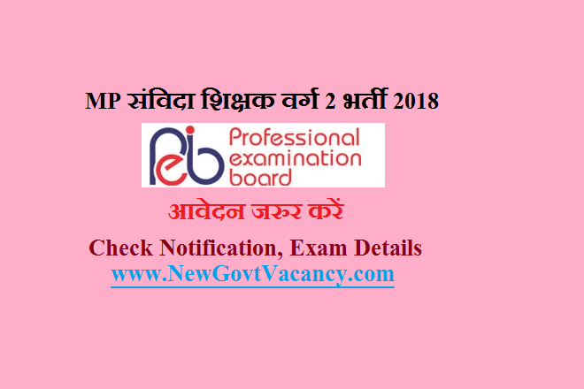 mp samvida Shikshak Varg 2 bharti 2018 notificataion exam date
